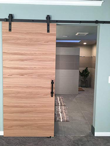 Sliding Barn Door 24 x 80 | Planum 0010 Honey Ash | 6.6FT Rail Hangers Stops Hardware Set | Modern Solid Panel Interior Door