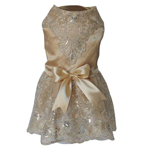Jim-Hugh Sequins Lace Embroidered Dog Dress Princess Dresses for Dogs Pet Tutu Skirt Supplies XS S M L XL for Puppy -