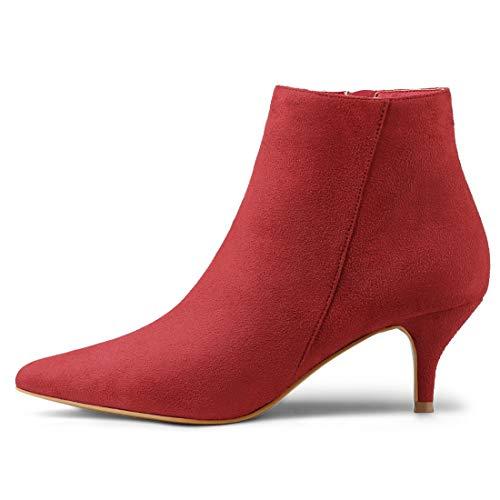 Kitten Pointed Booties Heel Ankle K Toe Red Zip Women's Stiletto Allegra YPqE6