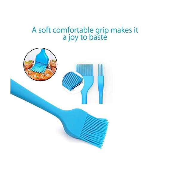 Verigle Silicone Basting Brush Heat Resistant Food Grade for for BBQ Grill Barbecue Baking Kitchen Cooking, 8.3 inch, Red&Blue 7 【SAFE】Brush surface coated with high quality food grade silicone, FDA approved, does not contain BPA.Pastry brush resistance temperature to 446 ℉ (230 ℃.So you can apply food, even when grilling and brushing won't melt or shrink. 【GREAT EXPERIENCE】the multi-layer silicone bristles have gaps in the center to better hold the liquid as it moves from the bowl to the food. 【SEAMLESS DESIGN】Unlike other bristles, silicone bristles do not break or fall off in food.Specially designed to avoid the brush head from falling off or becoming loose when applied.Silicone brushes do not stick to bacteria.No stains.
