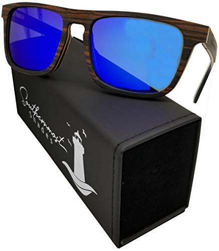 Natural Wood Sunglasses for Men - Wooden Frame - Genuine Polarized Lenses (Ebony Wood - Blue Mirror Lenses)