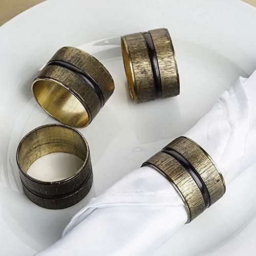 Mikash Ribbed Copper Tone Napkin Rings Wedding Dinner Party Decorations Sale | Model WDDNGDCRTN - 16999 | 36 Pieces
