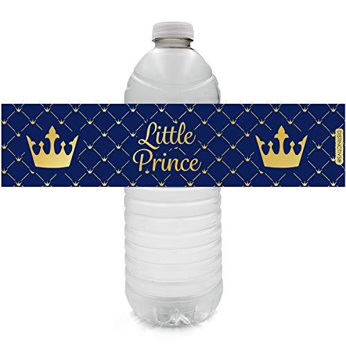 Royal Prince Metallic Foil Baby Shower Water Bottle