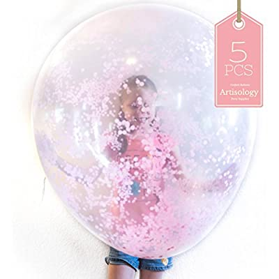 "36"" Clear Confetti Balloon (pink) - 5pc - Stunning Decoration for Girl Princess party, sweet 16, quinceanera, Bridal shower, Wedding, kid birthday party, Gender Reveal, or any occasion"