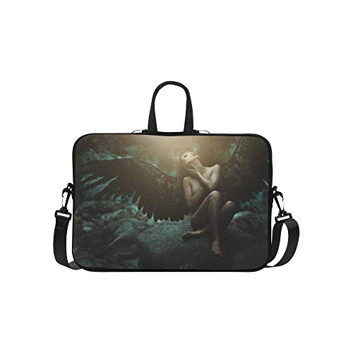 InterestPrint Fantasy Gothic Medieval Fallen Angel with Black Wings Waterproof Neoprene Laptop Sleeve CaseNotebook Shoulder Bag 15 15.6 Inch with Handle & Strap for Women ()