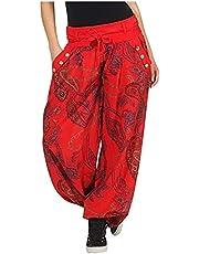 QiFei hippiebroek voor dames, harembroek, boho, patroon, gesmokte taille met zakken, vrijetijdsbroek, zomerbroek, yogabroek, bloemenpatroon, lange broek