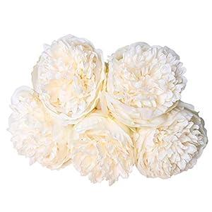MARJON Flowers1 Bouquet 5 Heads Artificial Peony Silk Flower Bridal Wedding Home Garden Decor White 58