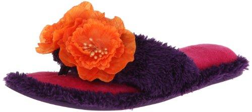 Dearfoams Women's Tropical Flower Thong Slipper,Clematis,Medium/7-8 M US