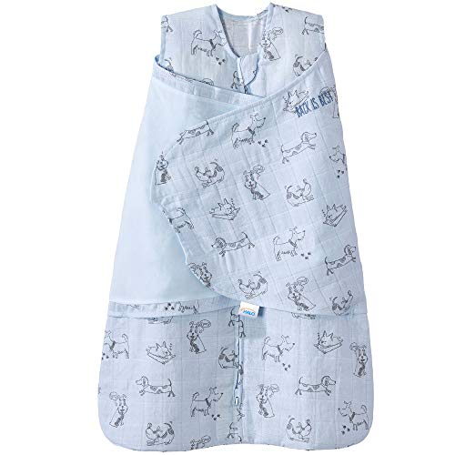 Halo 100% Cotton Muslin Sleepsack Swaddle Wearable Blanket, Blue Dogs, Small