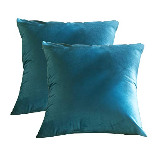 GreatforU Set of 2, Velvet Throw Pillow Cover, Soft Decorative Square Cushion Covers Pillowcase, Home Decor Decoration for Sofa Couch Bed Chair Shop Cafe Dining Room, 18x18 Inch / 45x45 cm, Dark Blue
