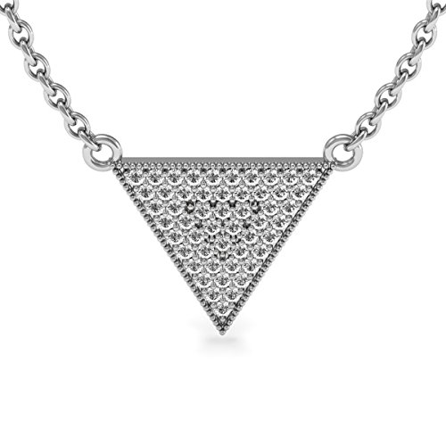 (Sparkle Bargains Sterling Silver Diamond Pendant Necklace - 1/3 Carat Diamond | Encrusted Triangle Diamond Trendy Necklace for Women with 18 Inches Free Chain)