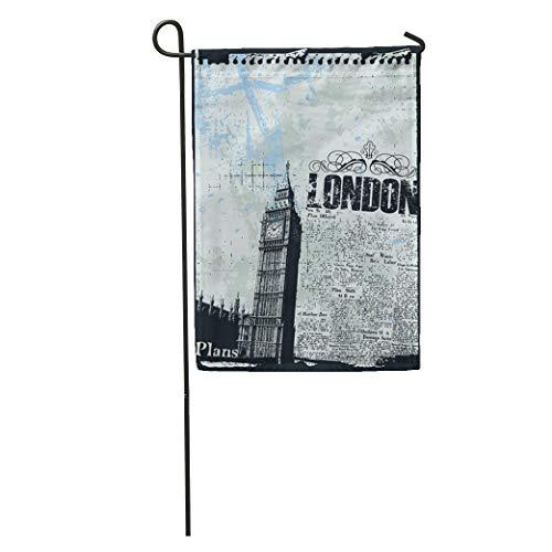 Semtomn Garden Flag Pop News of London Big Ben Clock City Vintage Abstract Home Yard Decor Barnner Outdoor Stand 12x18 Inches Flag