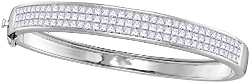 14kt White Gold Womens Princess Natural Diamond Bangle Luxury Fashion Bracelet 6.00 - White Diamond Gold Princess Bangle