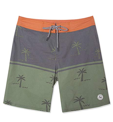 SURF CUZ Men's Vintage Cruzer Stretch Boardshort Chino Shorts (Coco - Olive, 34)