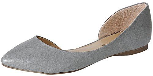 Breckelles Deon-02 Femmes Bout Pointu Slip Sur Pu Ou Imprimé Animal Dorsale Chaussures Plates, 6 B (m) Us, Gris
