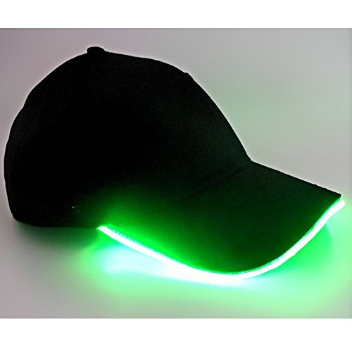 (LED Hat,TILO Multicolor LED Fiber Optic Illuminated Lights Light Stage Performance Tide Lighted Glow Club Sports Athletic Travel Tour Hat Baseball Bar Party Flash Cap Green)