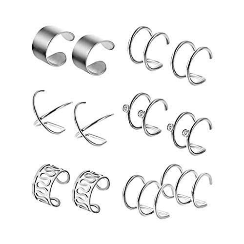 Natuworld 1Set 6 Pairs Stainless Steel Ear Clips Non Piercing Earrings Hoop Cartilage Ear Clips Set for Men Women (6 Various Styles)