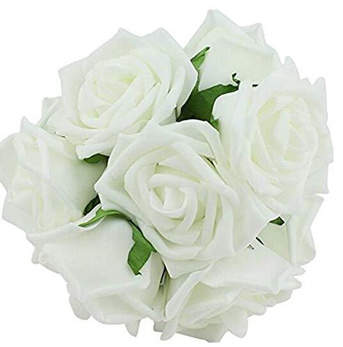 Nicedeal 10PCS Classic White Purple Pink Lvory Beige Rose Flowers for Wedding Bridesmaid Bridal Bouquet (Avorio) Atmosfera di casa Deco