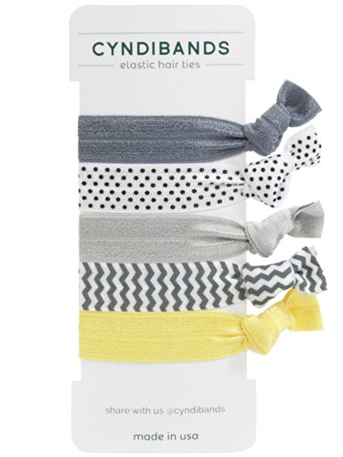 Gray, Silver, Yellow Knotted Ribbon Elastic Hair Ties, 5 Count, Sunray