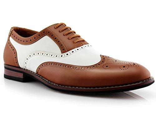 Ferro Aldo Mens Causal Wingtip Oxfords Modern Brogue Spectator Dress Shoes Brown & White 9