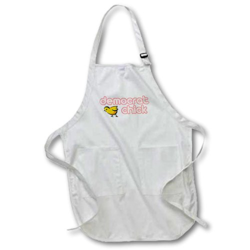 - 3dRose apr_16514_4 Democrat Chick-Full Length Apron with Pockets, 22 by 30-Inch, Black