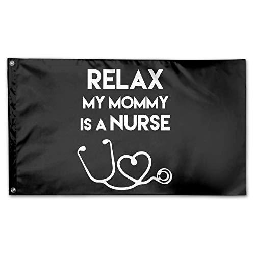 WINDST Personalized My Mommy is A Nurse Logo Garden Flag 3x5 ft Outdoor Garden Decorative Banner Black