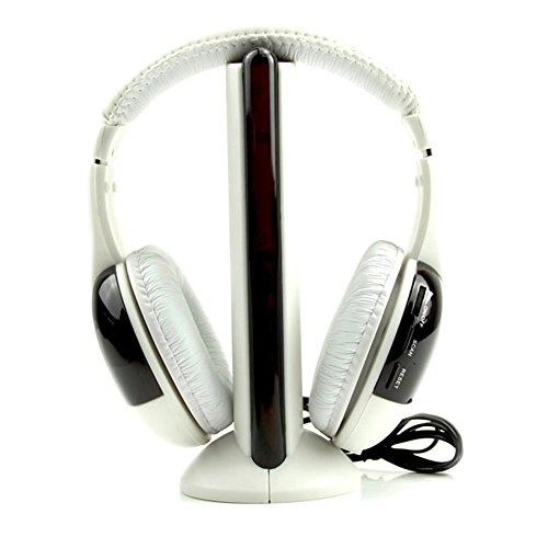 Headset Free Hands White (LIYUDL Hot 5 in 1 Hi-Fi Wireless Headset Headphone Earphone On-Ear Headset with Noise Cancelling,Hands-Free for TV DVD MP3 PC White Color)