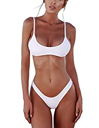 Freemale Women Brazilian Padded Top Bikini High Cut Bottoms Swimsuit Swimwear