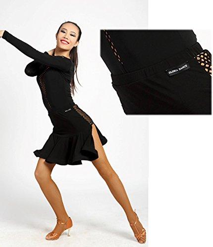 Conception Danse la Latine de G2017 Salon Large black de SBS Jupe Professionnel SCGGINTTANZ Maille de de v0tfqw0