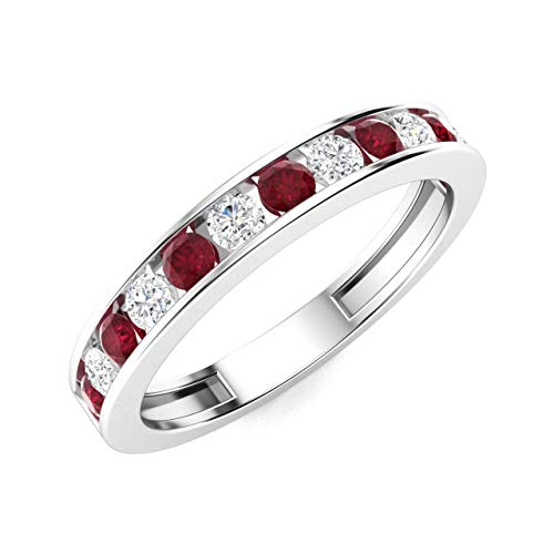 Diamondere Natural and Certified Ruby and Diamond Wedding Ring in 14K White Gold | 0.57 Carat Half Eternity Stackable Band for Women, US Size 7