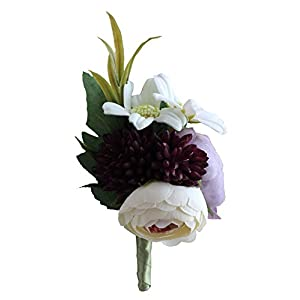 S_SSOY Handmade Boutonniere Romantic Flower Bridegroom Groom Men's Boutonniere Groomsmen Best Man Boutineer Artificial Flower Brooch Corsage for Wedding Homecoming Prom Party Suit Decor Pack of 2 102