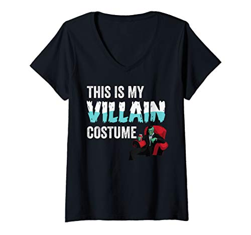 Womens  This Is My Villain Costume Funny Halloween Joke Graphic Art V-Neck T-Shirt -