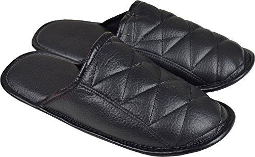 Para hombre piel sintética Mules suave Comfy Zapatillas de casa salón ligero Negro - negro