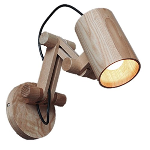 Vinteen Wooden Art Mechanical Hand Double Section Northern Europe Small Wall Lamp E27 Vintage Industrial Wall Light Loft Creative Swing Arm Sconce Balcony Stair Porch Restaurant Bar Bedroom Sconce