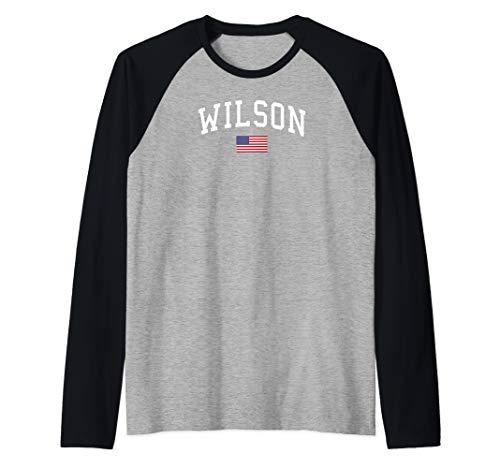 Wilson Clothing | US Flag Last Name Raglan Baseball Tee (Wilson Baseball T)