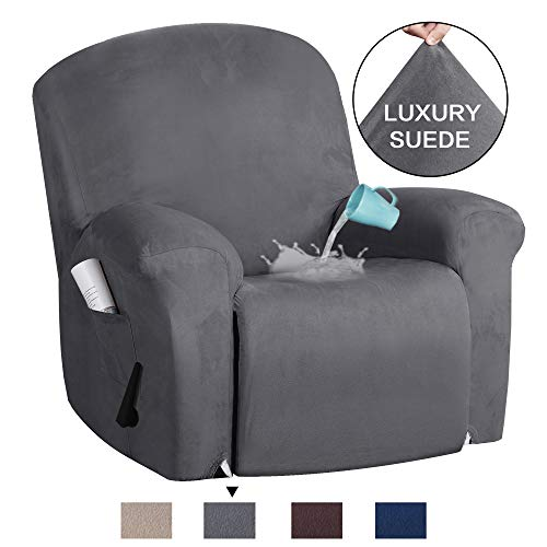 H.VERSAILTEX Recliner Sofa Cover 1-Piece Non Slip Soft High Stretch Suede Fabric Velvet Plush Strapless Slipcover Form Fit Stretch Furniture Cover Recliner Sofa Slipcover - Charcoal Gray