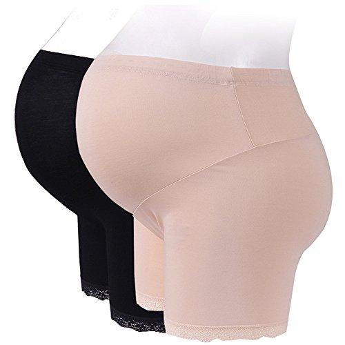 Luyusbaby Women's Pregnancy Maternity Shapewear Belly Support Stretch Short Leggings, Flesh&Black XX-Large