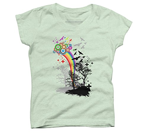 Bring Me Colors Girl's X-Large Mint Youth Graphic T Shirt - Design By Humans ()