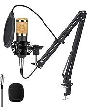 Condensatormicrofoonset BM-800, Professionele Computer PC-microfoonset met Schokdemper en Montageklem Microfoon met Popfilter, voor Studio-uitzendingen, Gaming, Opname, Streaming