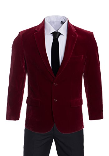 Premium Slim Fit Velvet Tuxedo Blazers-Dinner Jackets-Many Color (42 Long, Dark Red Velvet) (Jacket Wear Velvet)