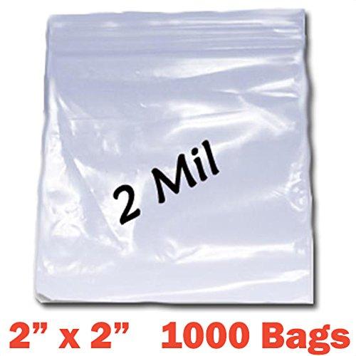 PREMIUM High Quality 2X, 1000 CLEAR Reclosable Zipper Bags 2'' x 2'' - 2 mil thick (50mm x 50mm)