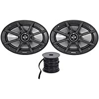 Package: Pair of Kicker 40PS692 6x9 2-Ohm ATV/Motorcycle Speakers Totaling 360 Watt Peak/180 Watt RMS + Rockville R14G50MS-BL 50 Foot Mini Spool Marine Waterproof 14 AWG Professional Speaker Wire