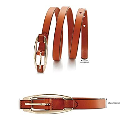 Narrow Belt Real Leather Adjustable Waist Belt for Women and Girls (Brown)