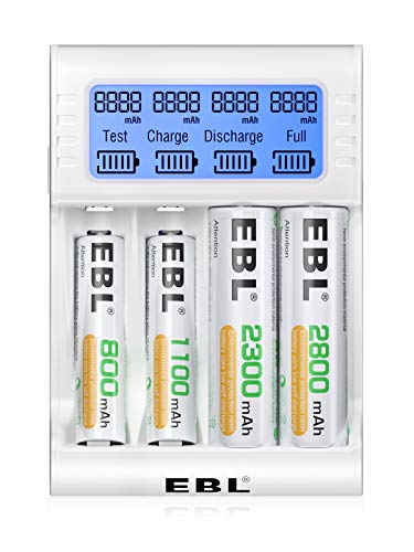 EBL LCD Battery Charger for AA AAA Rechargeable Batteries with Capacity Test Function, Smart 4 Slots Battery Charger and Discharger, AA AAA Battery Charger (Battery Not Included)