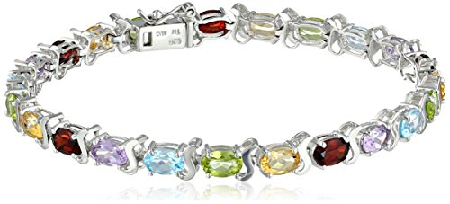 Multi-Gemstone-Tennis-Bracelet-in-Sterling-Silver