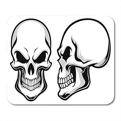 Emvency Mouse Pads Skeleton Black Side Cartoon Skulls View Halloween Head Human Mouse Pad for notebooks, Desktop Computers mats 9.5