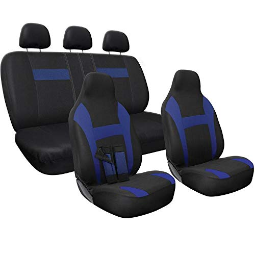 Blue /& Black Motorup America PU Leather Auto Bench Seat Cover Full Set Fits Select Vehicles Car Truck Van SUV Newly Designed