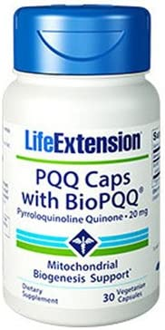 Life Extension PQQ Caps, Pyrroloquinoline Quinone, 20 milligrams 30 Vegetarian Capsules. Pack of 2 Bottles.