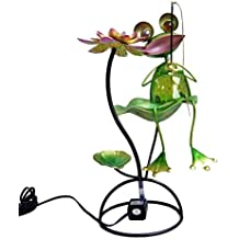 Continental Art Center Metal and Glass Frog Fountain, 18 by 18 by 13-Inch