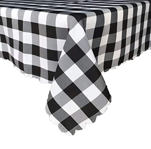 - LFUJUE 100% Waterproof Checkered Buffalo Plaid Tablecloth Indoor Outdoor Picnic Table Cloths Black and White Checks Table Covers for Everyday Use (60''x84'', Black)